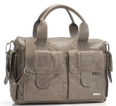Storksak Sofia Leather Diaper Bag - Taupe | Maternity Clothes www.duematernity.com