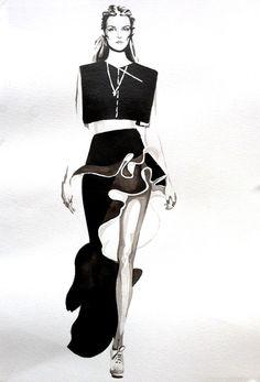 Fashion illustration of model in a ruffle skirt by Balenciaga; fashion sketch…