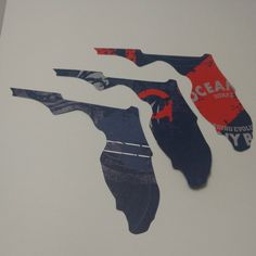 4 Die Cut Printed Large State of Florida by thepapercove on Etsy