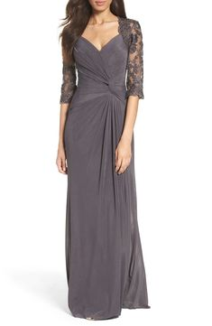 online shopping for La Femme Lace & Net Ruched Twist Front Gown from top store. See new offer for La Femme Lace & Net Ruched Twist Front Gown Mob Dresses, Dresses With Sleeves, Wedding Dresses, Party Dresses, Half Sleeves, Wedding Attire, 1940s Dresses, Formal Dresses, Net Gowns