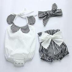 Baby rompertjes 2016 hot verkopen wit en zwart strip baby romper set pasgeboren baby kleding boetieks baby meisjes vintage bloemen romper