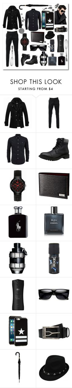 """Men In Black"" by andrea2andare ❤ liked on Polyvore featuring Lacoste, Ralph Lauren, Chanel, Viktor & Rolf, Axe, DKNY, Givenchy, Belstaff, Alexander McQueen and men's fashion"