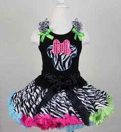 Rainbow Zebra Minnie Mouse Girls Pettiskirt Set