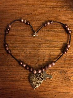Brown heart diffuser necklace