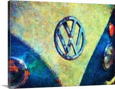 "For the classic car collector, admirer and aficionado: Vintage car wall art featuring a close-up view of the Volkswagen emblem in ""Da Bus"" gallery wrap canvas print by Trask Ferrero. Available at GreatBIGCanvas.com."