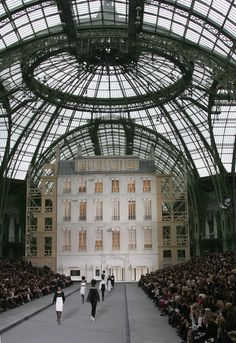 General view of the runway at the Chanel fashion show during Spring/Summer 2009 Paris Fashion Week at the Grand Palais in Paris. Karl Lagerfeld has been staging Chanel shows at the Grand Palais, a historical exhibition space, since 2006.