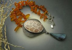Fossil Coral Agate and Genuine Amber Fine silver Necklace by Meenu Devrani