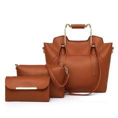 Ladies Versatile 3 Piece Fashion Compound Shoulder Messenger Bag Set Leather Crossbody Bag, Leather Handbags, Pu Leather, Handbags Online Shopping, Handbag Stores, Fashion Handbags, Cross Body Handbags, Purses And Bags, Messenger Bag
