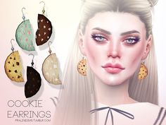 The Sims Resource: Cookie Earrings by Pralinesims • Sims 4 Downloads