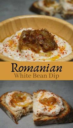 White Bean Dip with caramelized onion - Fasole Batatu. An easy traditional Romanian recipeRomanian White Bean Dip with caramelized onion - Fasole Batatu. An easy traditional Romanian recipe Appetizer Recipes, Soup Recipes, Vegetarian Recipes, Chicken Recipes, Appetizers, Healthy Recipes, Recipies, Fast Recipes, Delicious Recipes