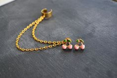 Pink Cherry Gold Chain Ear Cuff by oflovelythings on Etsy