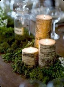 ideas for fall wedding centerpieces: birch bark candles