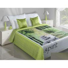 SPIRIT zelený přehoz na postel s bambusem a kamením - dumdekorace.cz