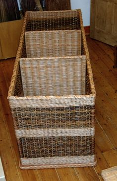 for recycling?  Very large rectangular log basket, with partitions  http://www.willowbaskets.biz/very_large_rectangular_log_basket_with_partitions_page.htm