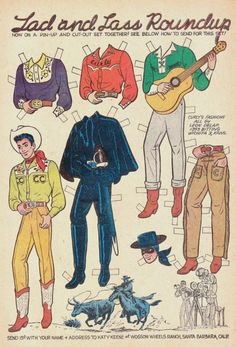 """Katy Keene in """"The Battle of The Sexes"""" starring Jughead Vintage Paper Dolls, Vintage Sewing, Paper Dolls Clothing, Newspaper Paper, Fun Crafts, Paper Crafts, Paper Dolls Printable, Cowboy Art, Country Fashion"""