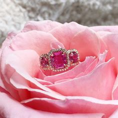 Pink Sapphire perfection in our new triple Pink Sapphire and Diamond halo ring, handmade by Ricardo Basta Fine Jewelry | pink sapphire ring, halo ring, spring inspiration, pink inspiration