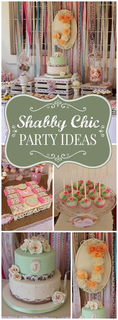 Such a gorgeous vintage shabby chic party with so many pretty details! See more party ideas at CatchMyParty.com!