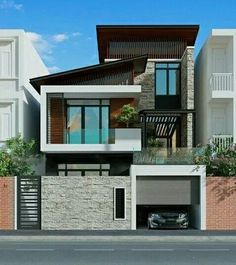 The modern home exterior design is the most popular among new house owners and those who intend to become the owner of a modern house. House Outer Design, House Front Design, Modern House Design, Bungalow Exterior, Bungalow House Design, Dream House Exterior, Design Exterior, Facade Design, Townhouse Designs