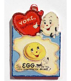 Anthropomorphic Eggs~ Glittered VALENTINE Handmade Ornament Vintage Card image by ToysInTheCloset on Etsy