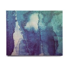 "Malia Shields ""Blues Abstract Series 1"" Green Teal Birchwood Wall Art from KESS InHouse"