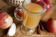 Wassail recipe with apple cider, citrus juices, and spices