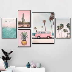 Pink Bus Cactus Pineapple Blue Sea Beach Wall Art Canvas Painting Nordic Posters And Prints Wall Pictures For Living Room Decor Poster Mural, Wall Posters, Bedroom Posters, Van Wall, Room Wall Decor, Wall Art Bedroom, Gallery Wall Bedroom, White Wall Decor, Canvas For Bedroom