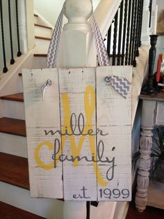 Custom pallet sign Family Initial and Name Sign by NCRDesign, $35.00