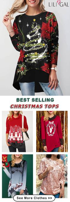red Christmas t shirts, sequin Christmas tops, casual Christmas tops, cute Christmas tops. Christmas Tops, Christmas Shirts, Ugly Christmas Sweater, Christmas Crafts, Holiday Wear, Holiday Fashion, Holiday Outfits, Chic Outfits, Fashion Outfits