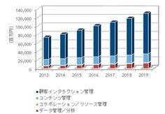 国内データ活用型マーケティング関連ソフトウェア市場 セグメント別売上額予測: 2013年~2019年