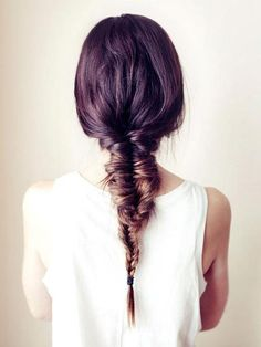purple ombre + loose braid