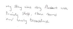 Guest feedback after a three night stay in one of our standard single bedrooms.