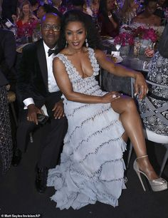 Angela Bassett radiates glamour in Georges Chakra as she wins SAG When you got it, flaunt it: Angela's dress featured a thigh-slit that allowed her to show off her shapely legs as she sat at her table beside her husband Courtney B. Hottest Female Celebrities, Black Celebrities, Celebs, Beautiful Women Over 50, Angela Bassett, Vintage Black Glamour, Georges Chakra, Black Goddess, Curvy Women Fashion