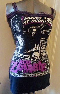 97742342bf1731 Rob Zombie handmade DIY ladies shirt dress with gorgeous purple lace at  bust and shoulder straps heavy metal horror mini dress long tank