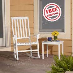 White-Wooden-Rocking-Chair-Outdoor-Patio-Relaxing-Porch-Veranda-Garden