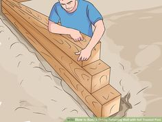 How to Build a Strong Retaining Wall with Treated Post. The instructions for building a retaining wall out of treated post aim to help ambitious homeowners and do-it-yourselfers tackle this task. Wooden Retaining Wall, Retaining Wall Steps, Backyard Retaining Walls, Retaining Wall Design, Building A Retaining Wall, Landscape Stairs, Landscape Timbers, Evergreen Landscape, Woodworking Projects That Sell