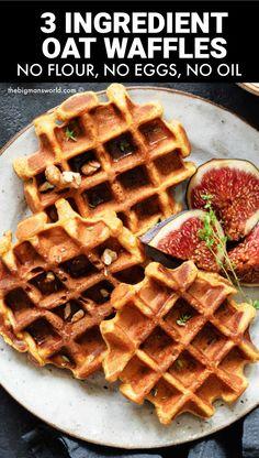 Egg Free Waffle Recipe, Vegan Waffle Recipe Easy, Waffle Maker Recipes, Healthy Waffle Recipes, Oatmeal Waffles, Breakfast Waffles, No Egg Breakfast, Pancakes, Vegan Gluten Free Breakfast