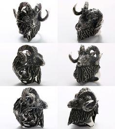 【楽天市場】Wildlife Art Silver【SCURO Ring】(シルバーアクセサリー/シルバーアクセ/シルバー/シルバー925/Silver925/銀/ソリタリーゴート/リング/指輪/メンズ/超重量級/動物/アニマル/ヤギ/山羊/スカル/骸骨/ドクロ):Lunatic Nights