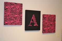 Hot Pink & Black Zebra Initial print Fabric Wall Hanging Set interior wall decor | eBay gonna do this in red