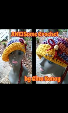 (SOLD!) ~ #CROCHET 1 HAT DAILY! ** ~ Day 341 ** AWE!Some Crochet by Gina Renay ImaGINAtions To purchase, send inquiry to  ginarenay@yahoo.com