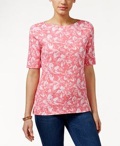 Charter Club Pima Cotton Boat-Neck Tee, Floral Print - Charter Club - Women - Macy's