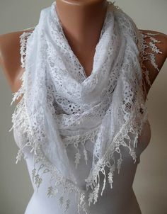 WHITE SCARF  LACED FABRIC  WHITE TRIM EDGE FOR BY SWEDISHSHOP, $15.90