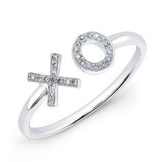 14KT White Gold Diamond XO Ring White Gold Jewelry, White Gold Rings, White Gold Diamonds, Gold Jewellery, Jewelery, Rose Gold, Heart Jewelry, Diamond Jewelry, Fine Jewelry