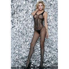 Siente elegante y sexy a la vez con los bodystockings Queen Lingerie.  Potencia toda tu sensualidad gracias al confort y diseño. Fabricado en material 80% Nylon + 20% Spandex. Talla Única. Cuerpo de red en color negro con un espectacular diseño. Siente elegante y sexy a la vez con los bodystockings Queen Lingerie.