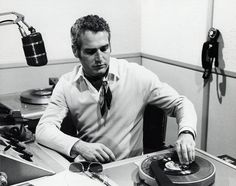 Paul Newman with two turntables and a microphone....and vinyl