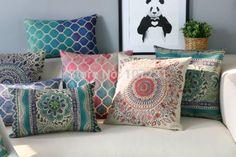 Ventas al por mayor Ikea vendimia algodón lino cojin cubierta decoración del hogar 45 cm * 45 cm Vintage sale Floral modelo geométrico almohada estuche