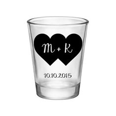 100x Two Hearts In One Custom Wedding Shot Glasses by #BartenderWorks on #Etsy. Perfect Wedding Mementos to Remember Your Special Day! #Weddings #WeddingParty #WeddingFavors #Bride #Groom #TwoHearts #2Hearts #SickkJunctions