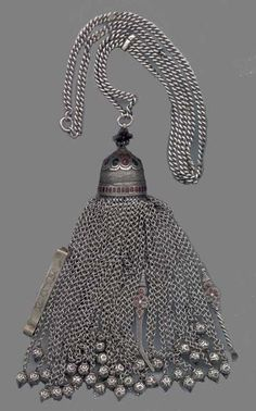 19th C. Rare, very fine, Central Asian pendant with cosmetic tools, heavy silver, excellent condition  1.4 x 22 in. with chain, pendant alone is 7.5 in.