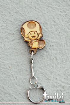 Laser cut and engraved Mario bros Toad wood by TwikiConcept, $12.00