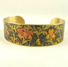 Iris Bracelet William Morris Wallpaper Flower by JezebelCharms