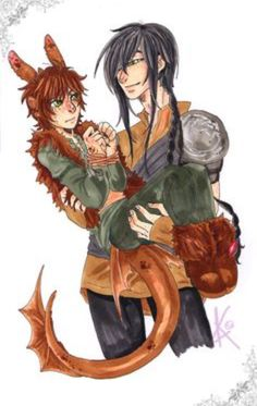 Hiccup dragon form with Toothless human form